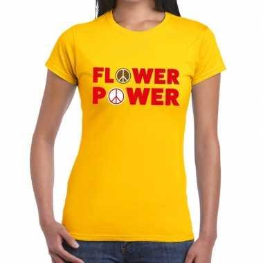 Flower power tekst t shirt geel dames carnavalskleding roosendaal