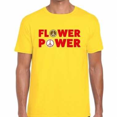 Flower power tekst t shirt geel heren carnavalskleding roosendaal