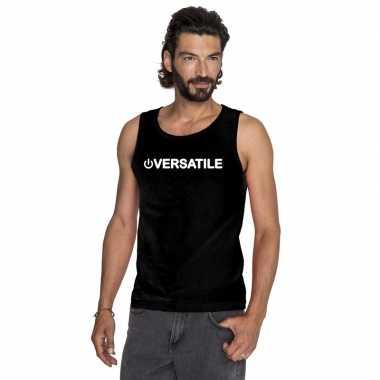 Gay singlet shirt/ tanktop power versatile zwart heren carnavalskledi