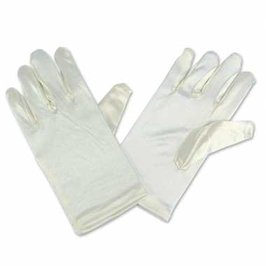 Gebroken witte satijnen handschoenen kinderen carnavalskleding roosen