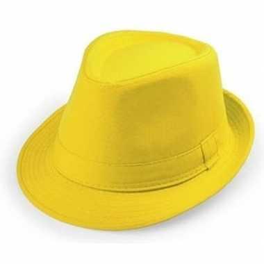 Geel trilby verkleed hoedje volwassenen carnavalskleding roosendaal