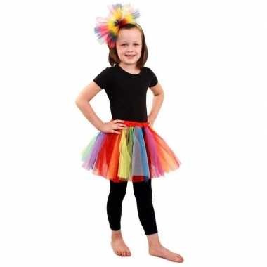 Gekleurde regenboog petticoat meisjes carnavalskleding roosendaal