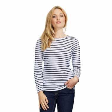 Carnavalskleding gestreept dames t-shirt wit blauw roosendaal