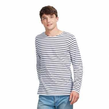 Carnavalskleding gestreept heren t-shirt wit blauw roosendaal