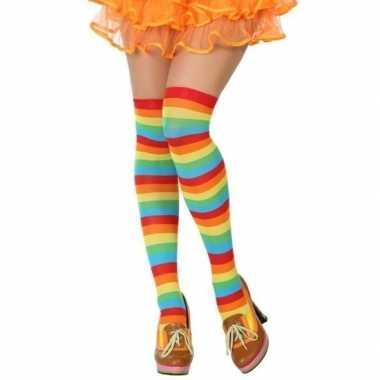 Gestreepte kousen clown verkleed accessoire dames carnavalskleding ro
