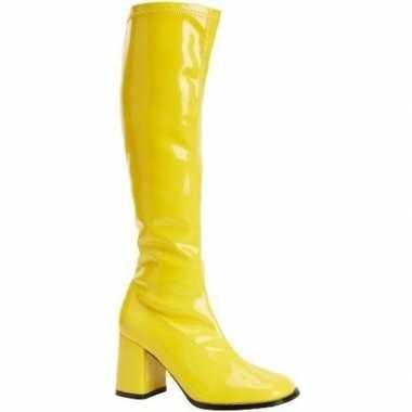Glimmende gele laarzen dames carnavalskleding roosendaal