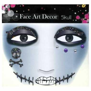 Glitter schmink sticker skull carnavalskleding roosendaal