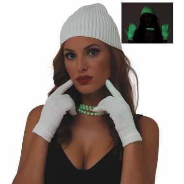 Glow the dark verkleed handschoenen wit dames one size carnavalskledi