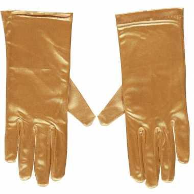 Gouden gala handschoenen kort satijn carnavalskleding roosendaal