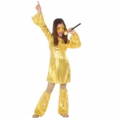 Gouden glitter disco jurk meisjes carnavalskleding roosendaal