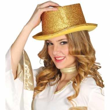 Carnavalskleding gouden glitter hoge hoed volwassenen roosendaal