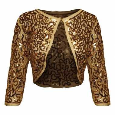 Gouden glitter pailletten disco bolero jasje dames carnavalskleding r