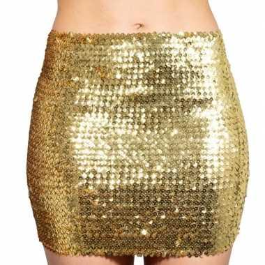 Gouden glitter pailletten disco rokje dames carnavalskleding roosenda