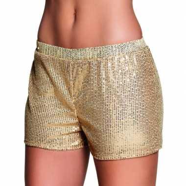 Carnavalskleding gouden hotpants pailletten roosendaal