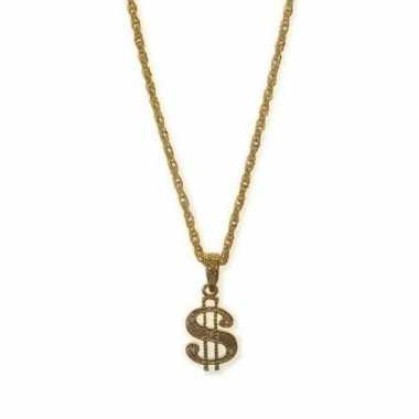 Gouden rapper amerikaanse dollar ketting carnavalskleding roosendaal