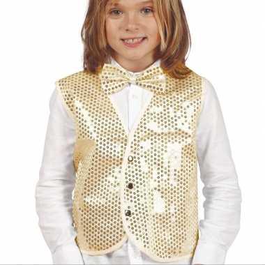 Gouden verkleed gilet pailletten kinderen carnavalskleding roosendaal