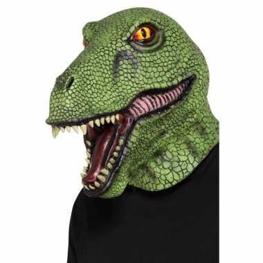 Groen dinosaurus masker volwassenen carnavalskleding roosendaal