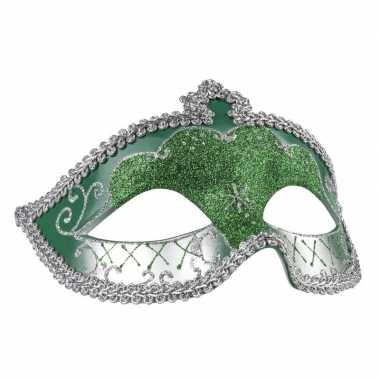 Groen/zilver oogmasker glitters dames carnavalskleding roosendaal