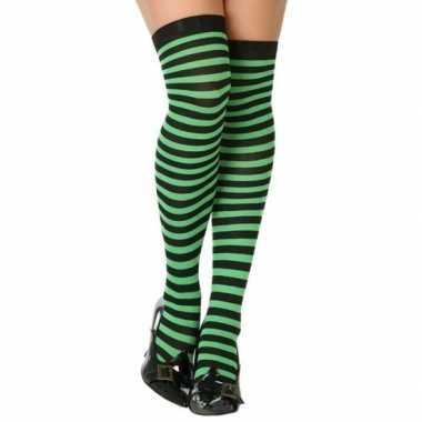 Groen/zwarte gestreepte verkleed kousen dames carnavalskleding roosen