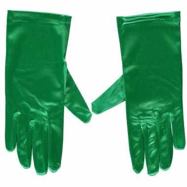Groene gala handschoenen kort satijn carnavalskleding roosendaal