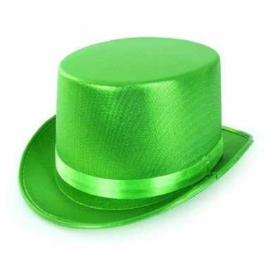 Groene hoge hoed metallic volwassenen carnavalskleding roosendaal