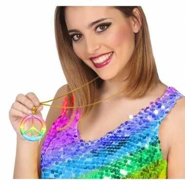 Grote gekleurde hippie ketting vredesteken carnavalskleding roosendaa