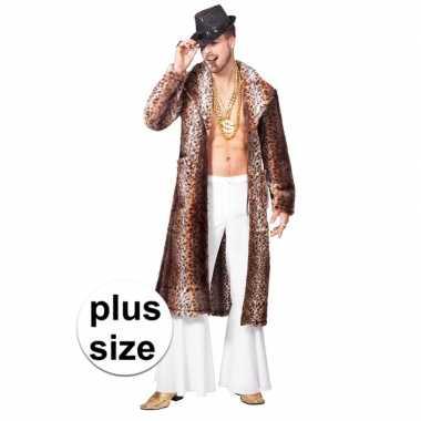 Grote maat bruine pimp/pooier verkleed jas heren carnavalskleding roo