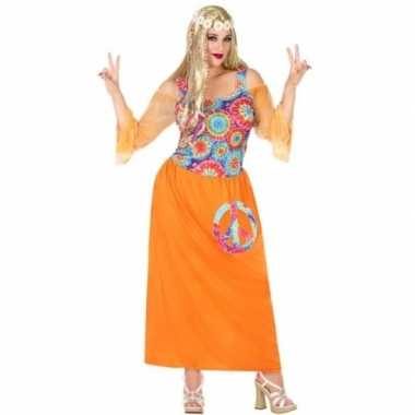 Grote maat oranje hippie/flower power verkleed jurk dames carnavalskl