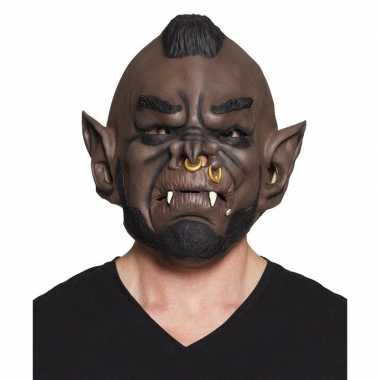Halloween bruin ork/goblin halloween masker latex carnavalskleding ro