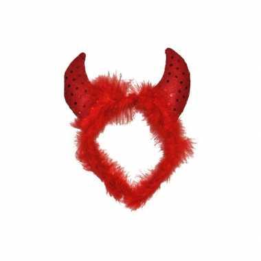 Carnavalskleding halloween duivel diadeem veren pailletten roosendaal