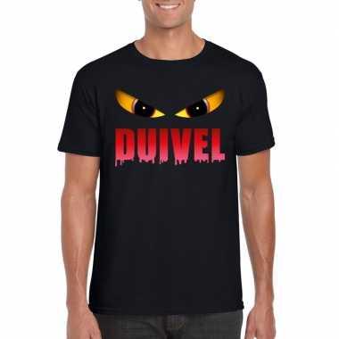 Halloween duivel ogen t shirt zwart heren carnavalskleding roosendaal