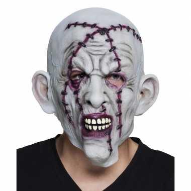 Halloween grijs horror halloween masker nietjes latex carnavalskledin