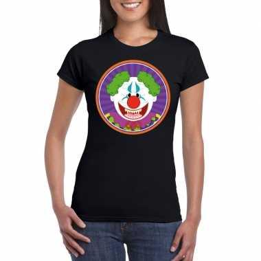 Halloween horror clown t shirt zwart dames carnavalskleding roosendaa