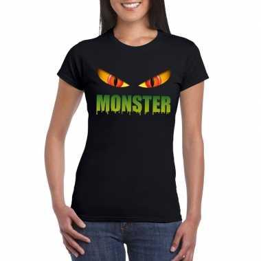 Halloween monster ogen t shirt zwart dames carnavalskleding roosendaa