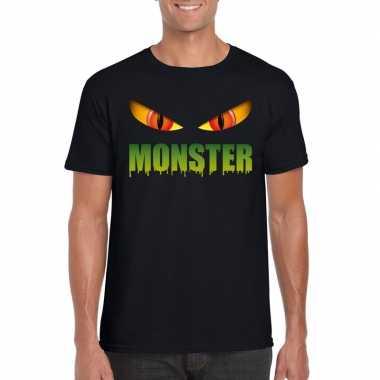 Halloween monster ogen t shirt zwart heren carnavalskleding roosendaa