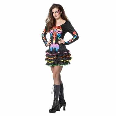 Halloween neon skelet halloween jurkje dames carnavalskleding roosend
