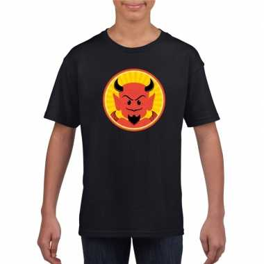 Halloween rode duivel t shirt zwart kinderen carnavalskleding roosend