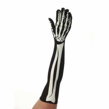Halloween skelet handschoenen lang volwassenen carnavalskleding roose