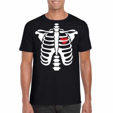 Halloween skelet t shirt zwart heren carnavalskleding roosendaal