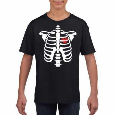Halloween skelet t shirt zwart kinderen carnavalskleding roosendaal