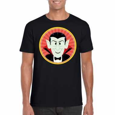 Halloween vampier/dracula t shirt zwart heren carnavalskleding roosen