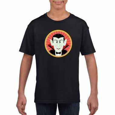 Halloween vampier/dracula t shirt zwart kinderen carnavalskleding roo