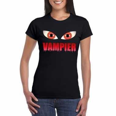 Halloween vampier ogen t shirt zwart dames carnavalskleding roosendaa