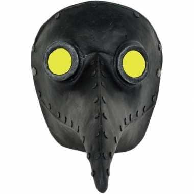 Halloween venetiaans zwart gezichtsmasker pestdokter/pestmeester carn
