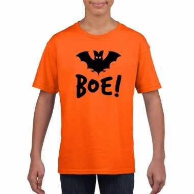 Halloween vleermuis t shirt oranje kinderen carnavalskleding roosenda