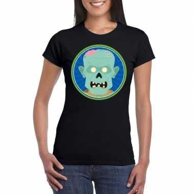 Halloween zombie t shirt zwart dames carnavalskleding roosendaal