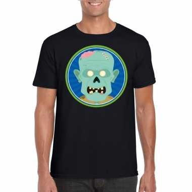 Halloween zombie t shirt zwart heren carnavalskleding roosendaal