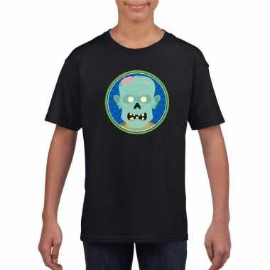Halloween zombie t shirt zwart kinderen carnavalskleding roosendaal