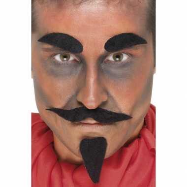 Carnavalskleding halloween zwarte duivel accessoire set roosendaal