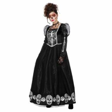 Halloween zwarte gothic day of the dead halloween jurk dames carnaval